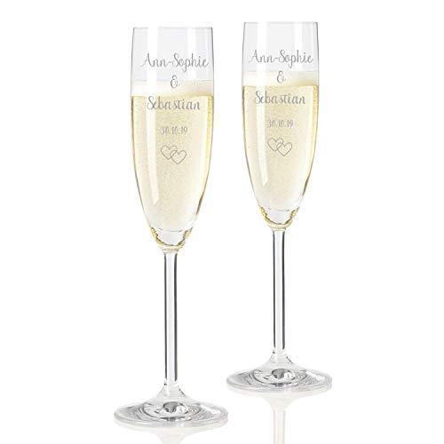 Geschenke.de Leonardo Sektgläser mit Gravur Namen und Herzen - Geschenk zur Hochzeit und Valentistag, 2er-Set