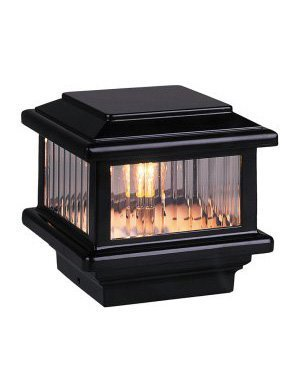 Flat Light Deck (Titan Flat Top Deck Light, Black, Fits 3 1/2 Post, 3 5/8 Actual Opening, 1.6W LED by Aurora Deck Lighting)
