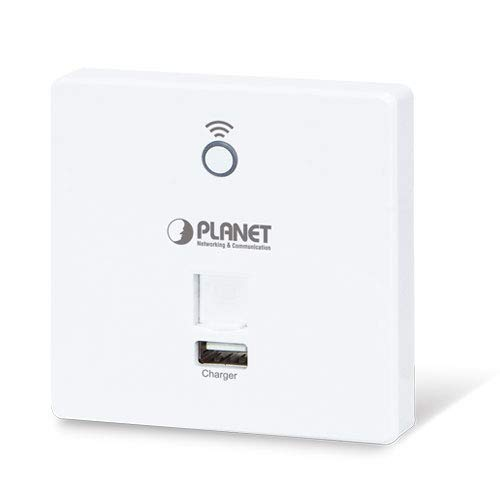 Planet 802.11n 300Mbps In-Wall Access Point w/USB Charg 802.3af/at, WNAP-W2200UE (Point w/USB Charg 802.3af/at PoE PD, 802.1Q VLAN, Supports Smart AP Controller (EU Type)) -