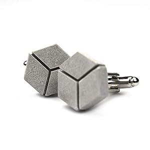 Beton-Manschettenknöpfe [cubelinks] | Betonschmuck für Männer | cufflinks in Geschenk-Schmucketui | perfekt für Papa zu…