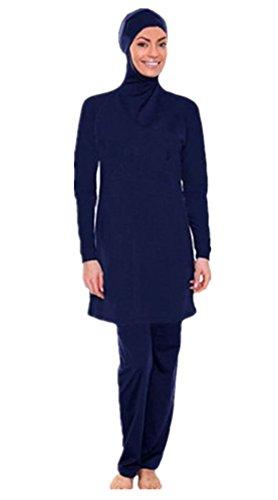 Muslimischen Damen Badeanzug Muslim Islamischen Full Cover Bescheidene Badebekleidung Modest Muslim Swimwear Beachwear Burkini (Asien 4XL ~~ EU-Größe 46 - 48, Hijab connected-5) (Muslimischen Kostüm Für Männer)