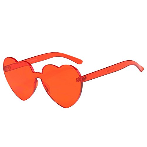 Gläser ,Frashing Frauen Fashion Heart-shaped Shades Sonnenbrille Integrierte UV Candy Colored Glasses (rot)