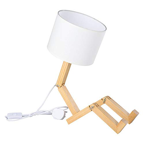 Creative Robot Desk Lamp, Ajustable puede colocar libros Lámpara de noche de madera con pantalla de tela Tornillo E27 Para habitación de niños