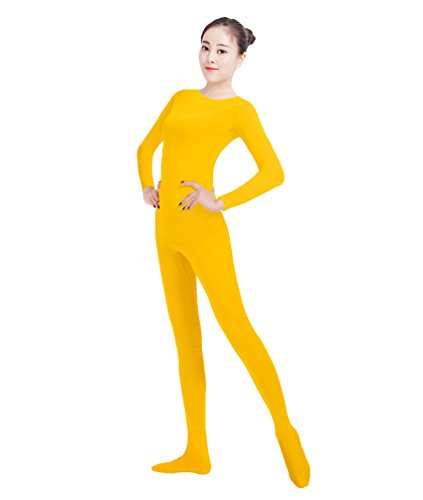 NiSeng Erwachsener und Kind Ganzkörperanzug Kostüm Lange Ärmel Bodysuit Kostüm Zentai Offene Bodysuit Kostüm Gelb M