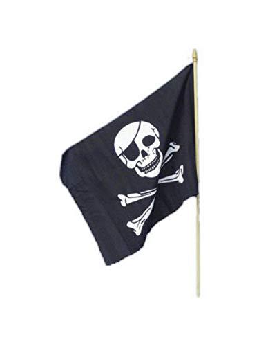 Halloweenia - Kostüm Accessoires ZubehörPiratennflagge Fahne mit Totenkopf 45x30cm, perfekt für Karneval, Fasching und Fastnacht, Schwarz (Kapitän Zur See Kostüm)