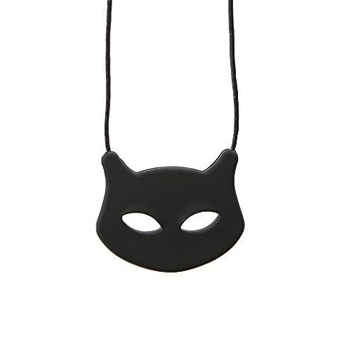 Chewigem Cat Mew Necklace - Sensory Grinding Chew - Autism & ADHD Buddy Toy-Black