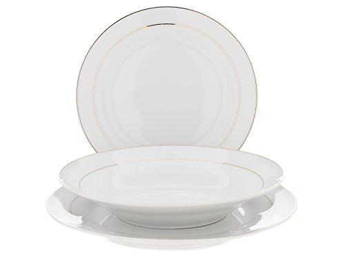 Home servizio tavola piatti 18 pezzi ala porcellana sophia 2 fili oro, bianco