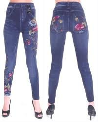 Krystle Denim Look Legging With Flora Print & Damage Effect  available at amazon for Rs.399