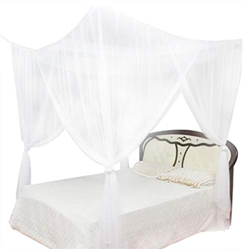 Wifehelper Mosquito Net 4 Corner Post Bed Canopy Mosquito Net Full Queen  King Size Bedding (White)