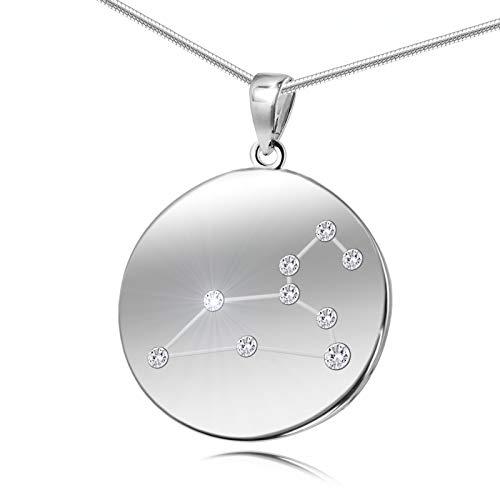 LillyMarie Damen Hals-Silberkette Sterling-Silber 925 Original Swarovski Elements Sternzeichen-Anhänger Löwe Längen-verstellbar Geschenkverpackung Freundinnen Geschenk