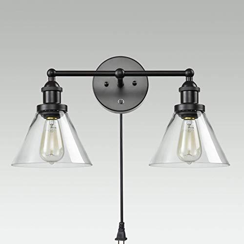 Yaione Industrielle Antike Vintage Wandleuchter mit 2 Leuchten und ovalem Kegel und klarem Glasschirm (Schwarz) Explosionsgeschützte Leuchten Einseitige Wandleuchte mit Stangenbefestigung Globe Light - Explosionsgeschützte Leuchten