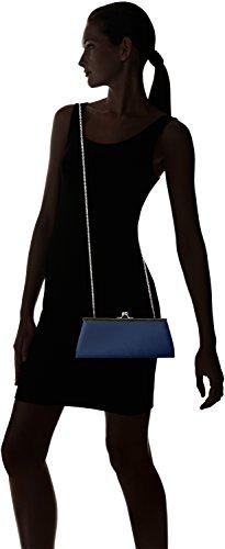 Berydale Damen Satin Handtasche, Clutch Schultertasche mit Zusatzkette und Metallbügel mit Schnappverschluss Blau (Dunkelblau)