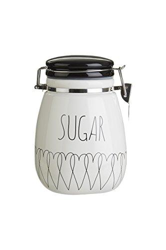 Premier Housewares Boîte à sucre Heartlines, Dolomite, blanc