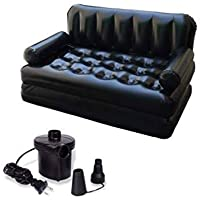 FASHION BLACK 5 in 1 Inflatable Three Seater Queen Size Sofa Cum Bed with Pump
