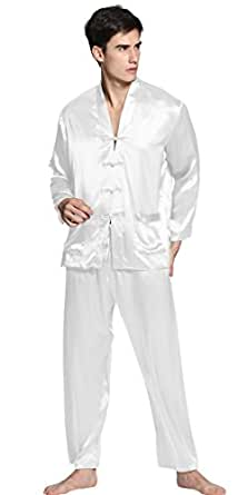 LILYSILK Pyjama Homme 100% Soie 22 Momme avec Boutons Traditionnels Chinois XS Blanc