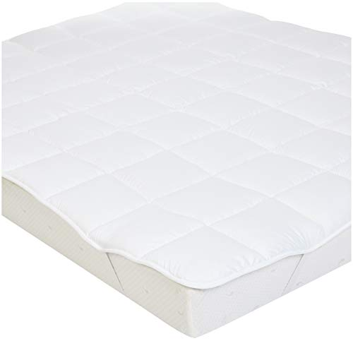 AmazonBasics - Weiche Matratzenauflage mit Mikrofaser-Polyester-Füllung und Riemen, 160 x 200 cm, Weiß