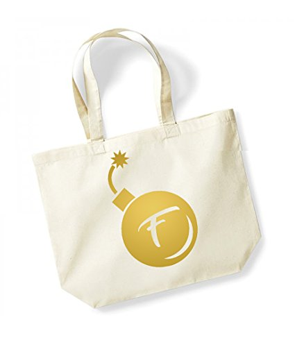 F Bomb - Large Canvas Fun Slogan Tote Bag Natural/Gold