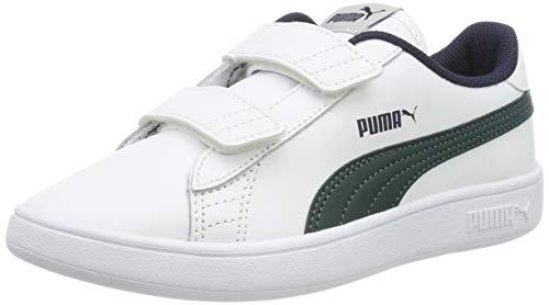 Puma Smash v2 L V PS, Scarpe da Ginnastica Basse Unisex-Bambini, Bianco White-Ponderosa Pine-Peacoat, 31 EU