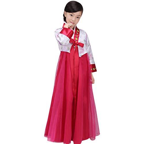 Kinder Mädchen Kostüm Koreanisch - XFentech Koreanisches Mädchen Hanbok Kleid - Mädchen Bunte Bezaubernde Traditionelle Nette Bühnenshow Cosplay Kostüm In Voller Länge, Weiß+Weinrot, EU 90=Tag 100