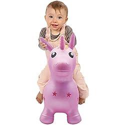 Ma licorne sauteuse   Ludi   Jouet sauteur gonflable - Jeu intérieur et extérieur - Grande stabilité - Apprentissage de l'équilibre et développement de la motricité   À partir de 10 mois