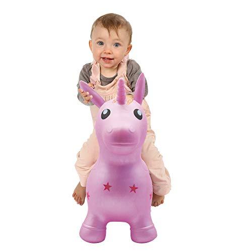 LUDI Mein springendes Einhorn Aufblasbares Reittier - Spielzeug für Innen und Außen - Hohe Stabilität - Gleichgewichtstraining und motorische Entwicklung | Ab 10 Monaten