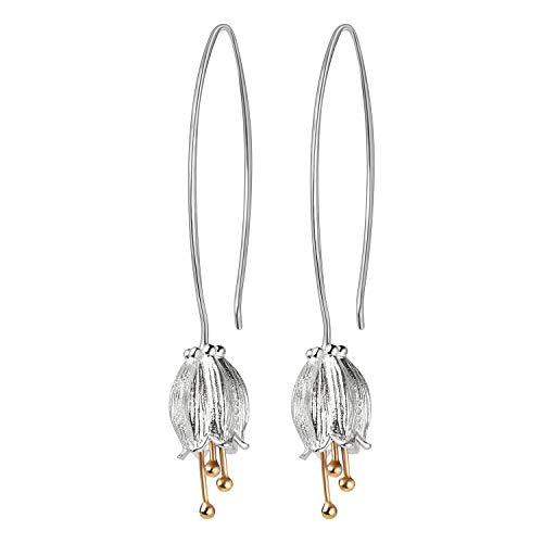 Lotus fun - orecchini da donna a cerchio con fiore campanula in argento sterling 925, realizzati a mano, gioiello unico