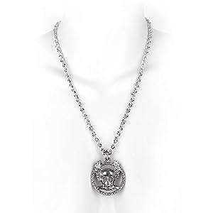 MB-Müller 81189-009-000 - Cadena de metal con medallón, diseño de calavera sobre las oscilaciones, color plateado