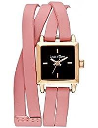 Reloj mujer Louis Villiers reloj 19 mm en acero negro y pulsera rosa piel lv2075