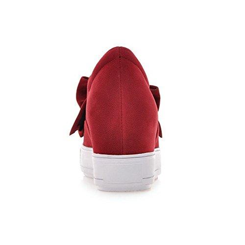 VogueZone009 Damen Ziehen Auf Hoher Absatz Mattglasbirne Rund Schließen Zehe Pumps Schuhe Rot