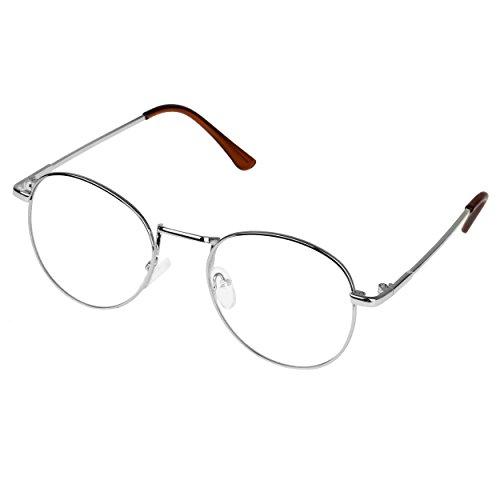 Forepin Metall Runde Brille reg; Retro Verspiegelte Gläser Clear Lens Eyewear Dekor Mode...