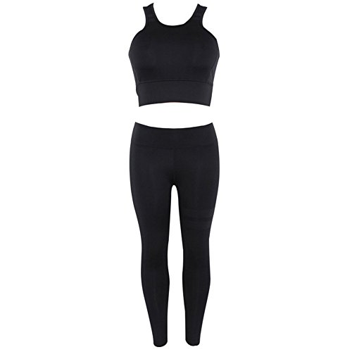 Le donne Sexy Splicing Halter Yoga Pantaloni Tute Sport Wrap Vest +  Pantaloni Fitness Set Yoga 37d1d1b3b92