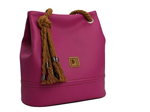 Handtasche Damen, Magenta, Pink, Lila, mit Kordel, handmade - 6