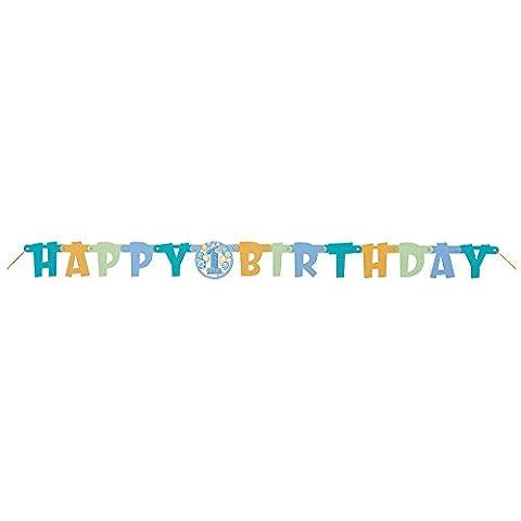 Unique Party - 23966 - Banderole de 1er Anniversaire - Happy 1st Birthday - Ballons - Bleu - 1,2 m