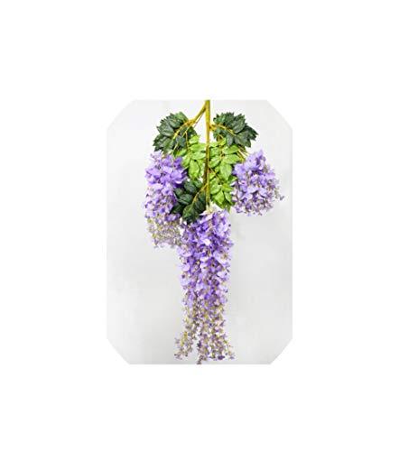 Eternity Bliss Künstliche Blumen 12pcs / Lot Hochzeitsdeko Reben Blumen Garland für Home Garden Hotel, lila 110cm hängen (Herzstück Kranz)