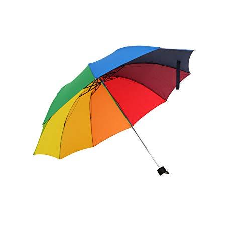 Global Brands Online Regenbogen im Freien mit DREI Falten Unbrella Sonnenschirm 8 Rippenwind beständig für Damen Tarvel Regenschirm