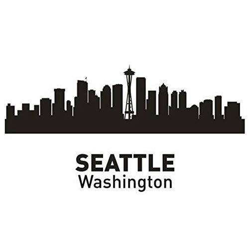 Poster Skyline Von Seattle (wandaufkleber 3d Wandtattoo Kinderzimmer Seattle City Decal Wahrzeichen Skyline Skizze Decals Poster Home Decor Aufkleber für Wohnzimmer)