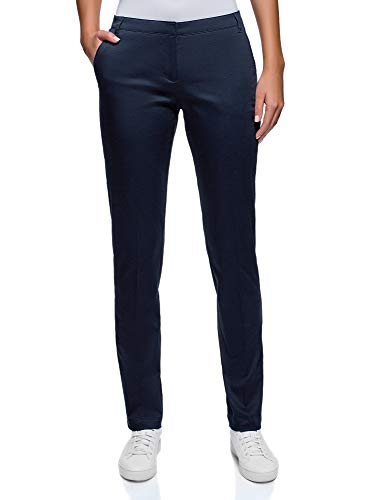 oodji Ultra Damen Sommerhose Basic, Blau, DE 40 / EU 42 / L