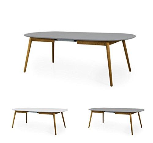 Tenzo 1686-012 Dot Designer Table de Salle à Manger Ovale avec Une allonge, Gris/Chêne, Plateau Panneaux MDF ép. 25 mm laqués. Pieds Massif huilé, 75 x 180-230 x 105 cm (HxLxP)