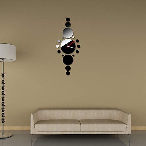 Webla - orologio da parete per bricolage, una fila di orologi rotondi, design alla moda, colore: nero