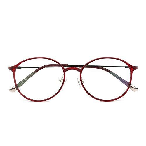 HAIBUHA Brille Retro Ultraleicht Kunststoff Stahl Wolfram Und Titan Vollbild Brillengestell Flacher Spiegel Unisex (Farbe : Rot)