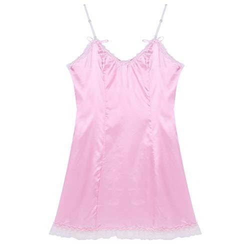 MSemis Herren Sissy Dessous Elegant Satin Kleider V-Ausschnitt Männer Nachthemd Rosa Dress Up Trägerkleid Unterwäsche mit Spitzen Rüsche Rosa XX-Large