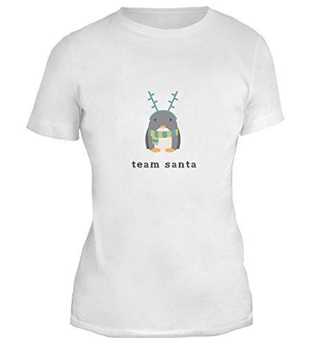 Mesdames T-Shirt avec Team Santa Cute Christmas Penguin Illustration imprimé. Blanc