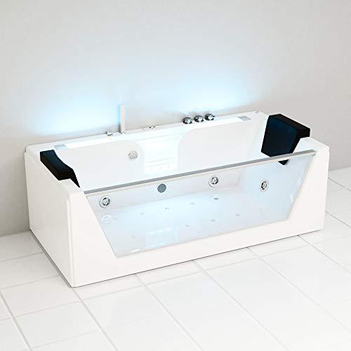 Produktbild bei Amazon - Tronitechnik Whirlpool Badewanne KOS 2 179cm x 85cm mit Heizung, Hydromassage, Bachlauf und Farblichtherapie