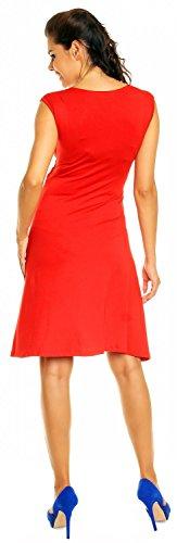 Zeta Ville Femmes Maternité Et Allaitement Robe de Grossesse Sans Manches 256c Rouge