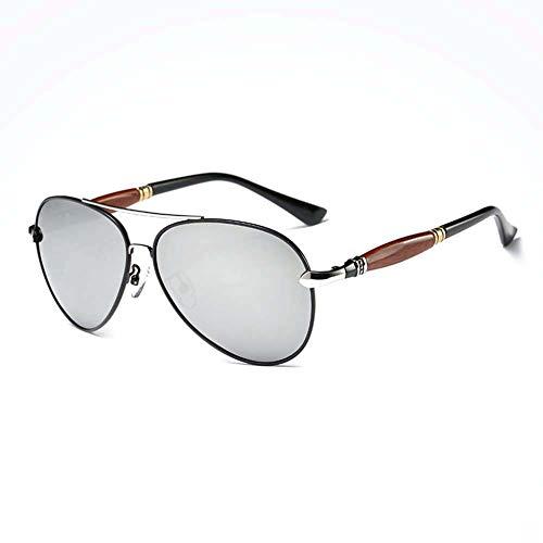 Z&HA Männer Fahren Brillen Treiber Polarisierte Sonnenbrille Aviator Stil Brille Al-Mg Rahmen, Angeln Radfahren Sportbrillen Für Männer Und Frauen,Blacksilver
