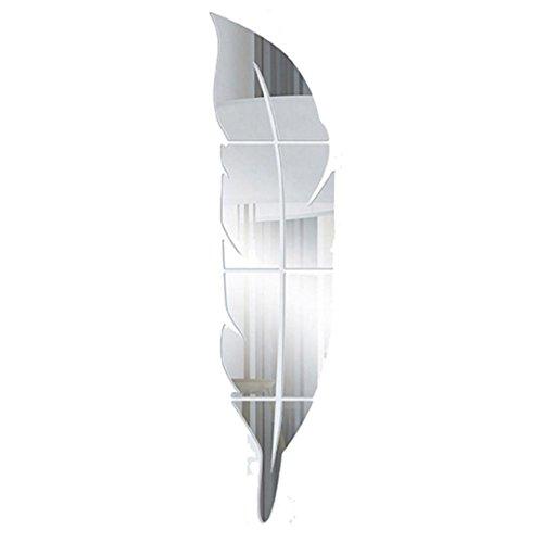 HUHU833 Abnehmbare Spiegel Feder Wandaufkleber Dekoration Wohnzimmer Schlafzimmer Wandaufkleber Kunst Aufkleber Haus Dekoration 30*120CM (Silber)