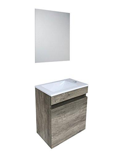 Starbath - set mobile da bagno sospeso oslo 40 x 25 cm mdf marrone + lavabo resina + specchio. piccolo mobile bagno