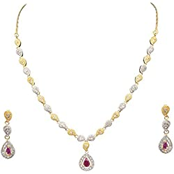 Cardinal American Diamond Stylish Traditional Fashion Jewellerry Party Wear Necklace Pendant Set with Earring for Women/Girls