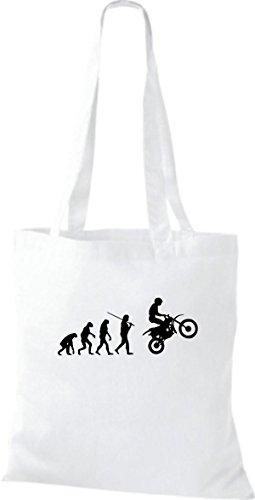 ShirtInStyle Stoffbeutel Jute Evolution Motorrad Biken Stunt Freebike Biker diverse Farbe weiss