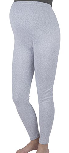 Mija - Lange Umstandsleggings / Leggings warme für den Winter / Baumwolle 3006 (XL, Hellgrau)